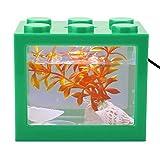 Nannday Mini Forma USB Lámpara de luz LED Carga USB Mini Acuario ecológico, pecera pequeña, Sala de Estar Resistente a la corrosión para Oficina(Green)