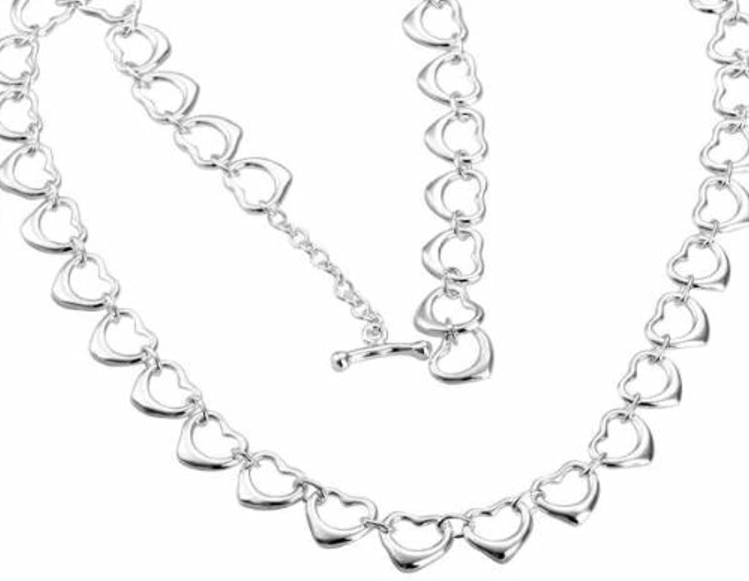KDesign 925 Sterling Silver Slippy Hearts Links TO Buckle Torques Pendant Necklaces N178