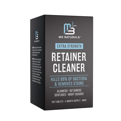 M3 Naturals Retainer and Denture Cleaner 120 Tablets Removes Bad Odors Discoloration Stains Plaque...