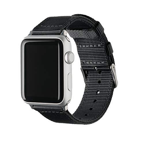 Archer Watch Straps - Nylon Uhrenarmband für Apple Watch - Schwarz/Edelstahl, 42/44mm