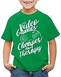 style3 Video Game Therapy Camiseta para Niños T-Shirt Gamer Classic Retro videoconsola Sonic Drive, Color:Verde, Talla:104