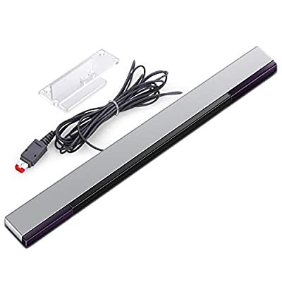 KIMILAR Replacement Wired Infrared IR Ray Motion Sensor Bar Compatible with Wii and Wii U Console (Silver/Black)