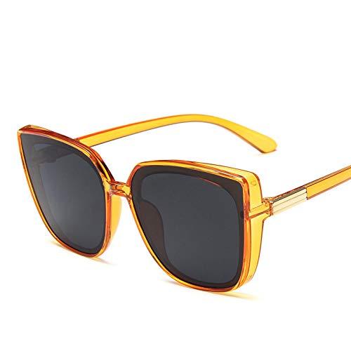 NJJX Gafas De Sol Cuadradas Vintage Con Montura Grande Para Hombres Y Mujeres, Steampunk, Gafas De Sol De Lujo Para Hombres, Gafas De Fiesta Rave, Naranja, Gris