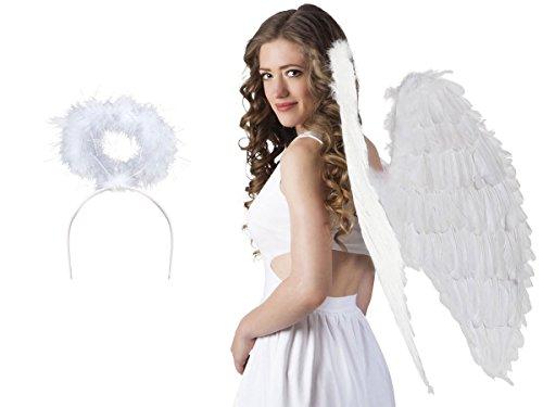 Alsino Engel Kostüm Verkleidung Engels-Flügel Engelskostüm Engelsflügel weiß Heiligenschein Karneval Fasching Engels-Kostüm KV-28