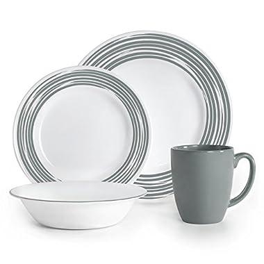 Corelle Boutique Brushed 16-Pc Dinnerware Set, Silver