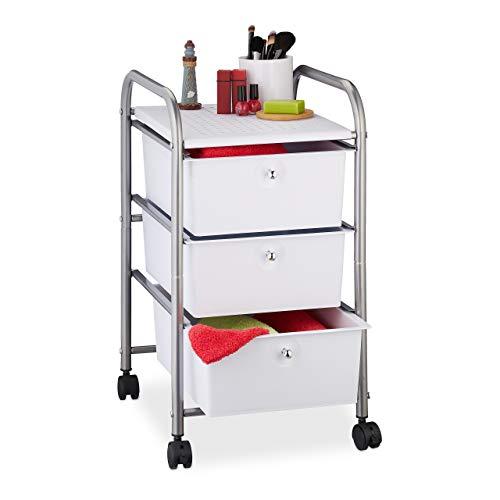 Relaxdays Badrollwagen, 3 Schubladen, Metall & Kunststoff, Rollcontainer Bad, Kosmetik, HxBxT: 60 x 33 x 39 cm, silber
