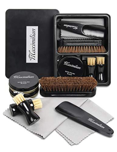 Premium Shoe Polish Kit Gift Box | Professional Leather Shoe Shine Kit with Neutral & Black Polish, 100% Shoe Horse Hair Brushes, Shine Cloths & Shoe Horn. Ultimate Leather Polishing Experience