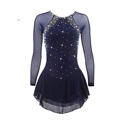 LWQ Eiskunstlauf-Kleid, Frauen-Mädchen Eislaufen Kleid Dunkelblau Spandex hohe Elastizität-Wettbewerb Skating Wear Quick Dry,XXL