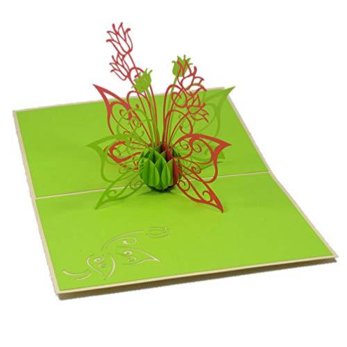 Favour Pop Up Grusskarte mit filigranem Blumenstrauß. Aufwändige Handarbeit und ausgefeilte Lasertechnik schaffen auf kleinstem Raum ein filigranes Kunstwerk. TF012