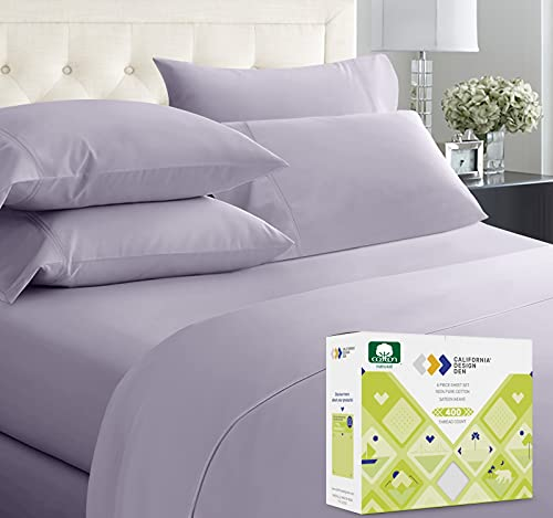 400-Thread-Count King Size Sheet Set - 6 Pcs with 4 Pillowcases - 100% Cotton Bedding Set Lavender Gray Sateen Weave Sheets, Elasticized Deep Pocket Fits Low Profile Foam and Tall Mattresses