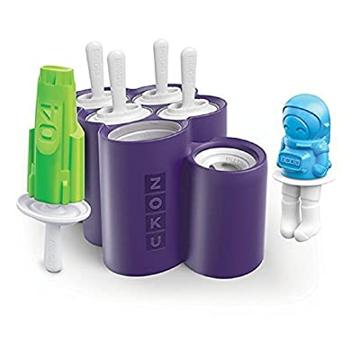 Zoku Space Pop Molds, 6 Different Rocket and Astronaut-shaped Popsicle Molds in One Tray, Easy-release, BPA-free