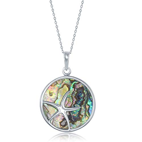 Nautical Starfish Round Disc Natural Abalone/Created Turquoise Sterling Silver 18'' Pendant Necklace Jewelry for Women or Teens