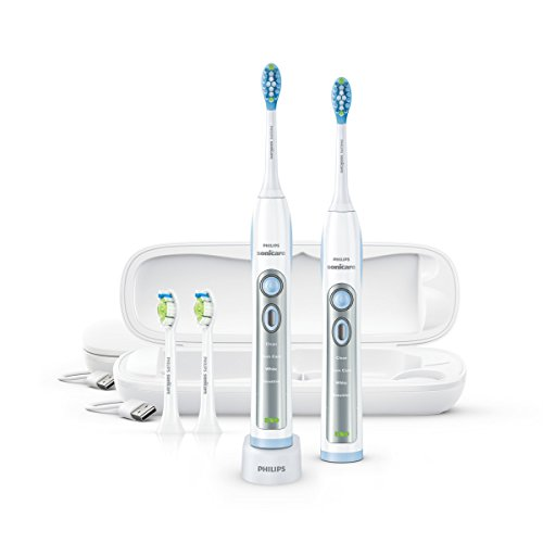 Philips Sonicare FlexCare Whitening Edition Rechargeable Toothbrush Premium 2-Pack Bundle HX6964/77 (2 FlexCare Handles, 2 DiamondClean & 2 Plaque Control Brush Heads, 2 USB Charging Travel Cases)