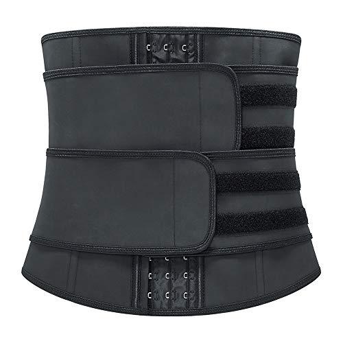 Fajas Moldeadoras Cinturón De Sudor Cinturón De Fitness para Acelerar La Pérdida De Peso Quema De Grasa Efecto Sauna para Mujer Cintura Entrenador Ajustable Recuperación Post-Parto Vientre,Negro,6XL