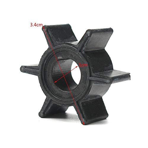 JXXDDQ 47-16154-3 Impulsor de la Bomba de Agua para TOHATSU/Mercury/Sierra 2/2.5/3.5/4/5 / 6HP Diámetro de Caucho de Motor Fuera de borda 3.4 cm 6 Cuchillas Negras