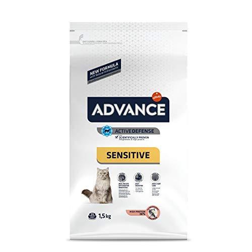 ADVANCE Sensitive - Croquettes pour Chat Adulte avec des Sensibilités Digestives et Cutanées - Saumon et Riz - 1,5Kg