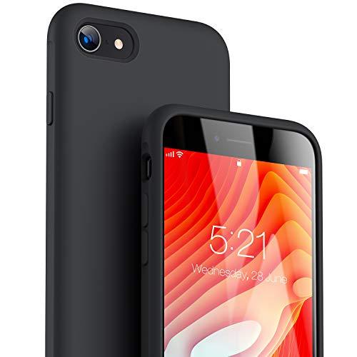 TORRAS für iPhone SE 2020 Hülle/iPhone 8/7 Hülle [Original Flüssige Silikon] [Soft-Touch wie Baby-Skin] Militärischer Schutz Slim Hülle iPhone SE 2020 Anti-Rutsch Handyhülle iPhone SE 2020-Schwarz