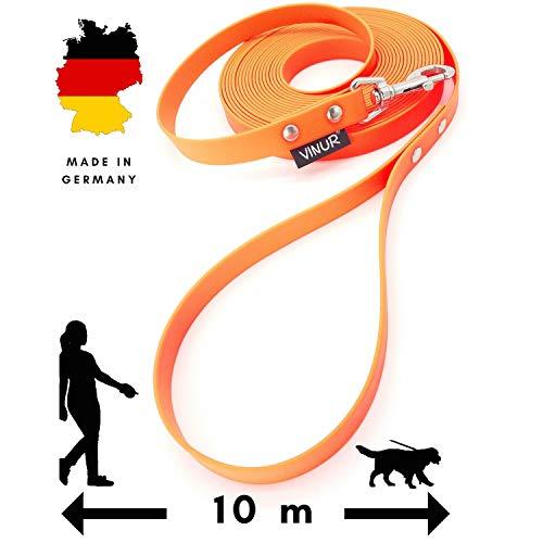 VINUR® Schleppleine für große Hunde | 10 Meter lang | extra stabiles, gummiertes 20 mm breites Gurtband | schmutz- und wasserabweisend | mit Handschlaufe