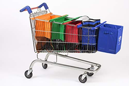UPP Bags Original Carro de la Compra Bolsas + Extra Funda +–Bolsa isotérmica–6Piezas–de Moneda para el Carro de la Compra Reutilizables Bolsillos