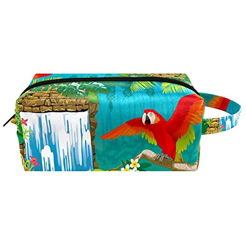 Neceser de Maquillaje Estuche Escolar para Cosméticos Bolsa de Aseo Grande,Cascada Flores Ramas Red Parrot
