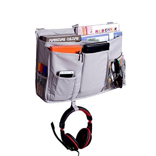Mydio opknoping organizer nachtkastje met 8 zakken voor stapel- en ziekenhuisbedden, slaapzalen bedrails, grijs