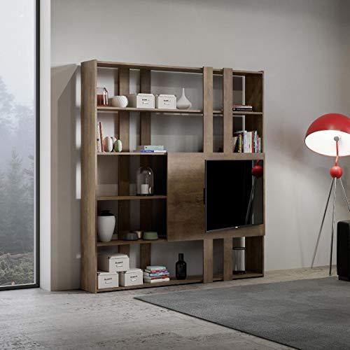 Libreria Composizione H Kato 6R 2 fianchi 2 fasce lunghe 2 fasce corte 2 fasce medie pannello TV Noce