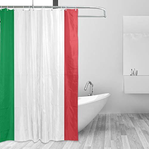 FANTAZIO Duschvorhang, Flagge von Italien, Polyester, mit dicken C-förmigen Haken, für Badezimmer, wasserdicht, langlebig & superwasserdicht, 152,4 x 182,9 cm
