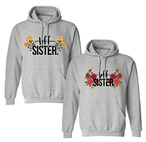 Best Friends Pullover für Zwei Mädchen Beste Freunde Hoodie für Sister Freundin Schwester Kapuzenpullover Damen Pulli Sister Geschenke BFF Pullover Set (Gelb - 1 Stück, S)