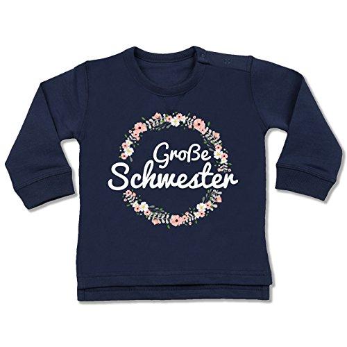 Preisvergleich Produktbild Shirtracer Geschwisterliebe Baby - Große Schwester Blumenkranz - 18 / 24 Monate - Navy Blau - Pulli einzelkind - BZ31 - Baby Pullover