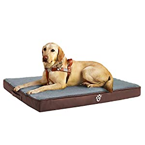 Orthopedic Dog Bed for Medium/Large Dogs, Memory Foam Pet Bed Mattress with Removable Washable Cover, 2-Layer Pet Mat with Waterproof Lining Dog beds(Brown)