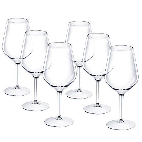 DoimoFlair Weingläser aus Kunststoff bruchsicher Weinbecher Sektgläser Plastik Transparent 46 cl. Set 6 Stück