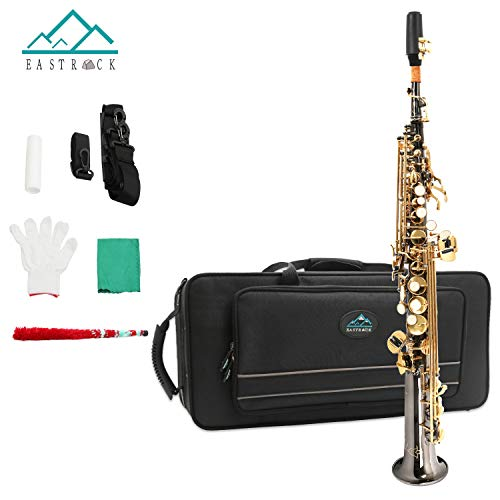 EastRock Soprano Saxophone Bb Black Nickel for Beginners Students Intermediate Players with Portable Hard Case,Mouthpiece,Reed,Cork Grease,Soft Cleaning Cloth,neck Strap,White Gloves