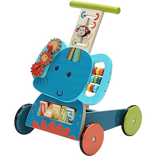 labebe - Baby Walker Push Toy for 1-3 Years Old Girl/Boy, Toddler Learning Walker 4 Wheel Activity Walker, Infant Wooden Walker Wagon Toy, Kid Push Walker Toy for Walking - Blue Elephant