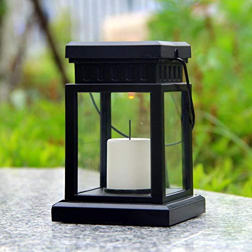 AdoDecor Solar Lights Outdoor LED Solar Flameless Candle Lantern with Hanging Clip for Outdoor Lighting 1pcs