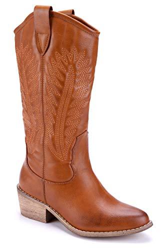 Schuhtempel24 Damen Schuhe Westernstiefel Stiefel Stiefeletten Boots Camel Trichterabsatz schlupf/Used Look 5 cm