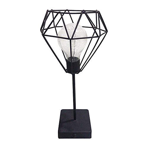 Lámpara de mesa de hierro forjado Negro, nórdico minimalista Diamante alto Luz de escritorio Alambre Led Escritorio Luz de noche Habitación Cafe Hotel Restaurante Hogar Dormitorio Decoración Regalo