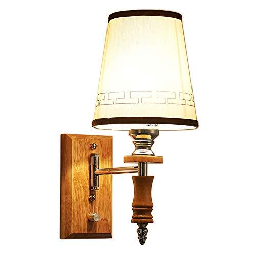 ZHCSYL Lámparas de pared Interruptor sólida de madera con lámpara de pared, simple Salón Dormitorio Estudio pasillo de noche decorativo de pared de luz.