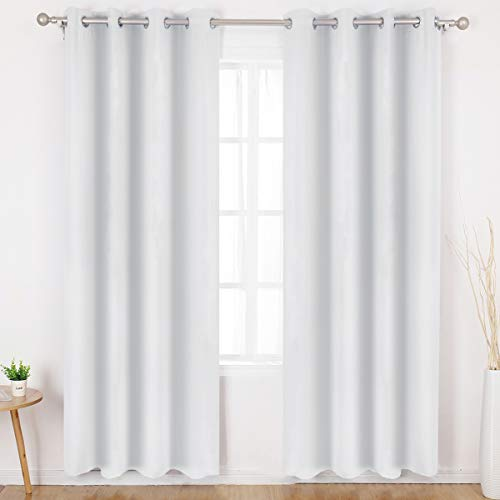 HOMEIDEAS Greyish White Blackout Curtains for Bedroom 52 X 84 Inch Long 2 Panels Set Room Darkening Curtains/Drapes, Soundproof Thermal Grommet Window Curtains for Living Room