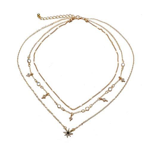 NNA Collar con Colgante de Estrella de múltiples Capas Adornos Simples Individuales Collar de Moda Regalo para el día de San Valentín Femenino - Oro - Oro