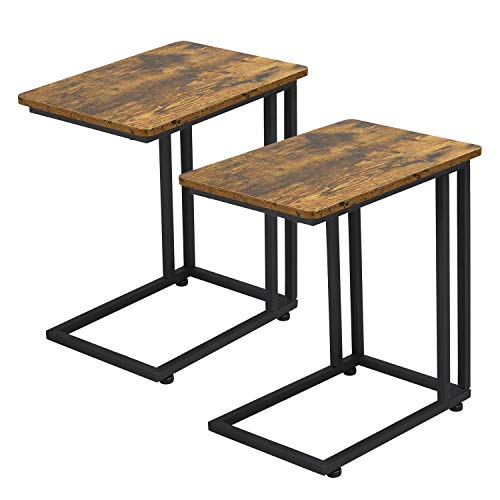 Yaheetech 2PCs C-Shaped End Table Sofa Side Table Mobile Coffee Tea Table Snack Table Laptop Trolly Table for Living Room, Bedroom, Balcony, Office, Rustic Brown