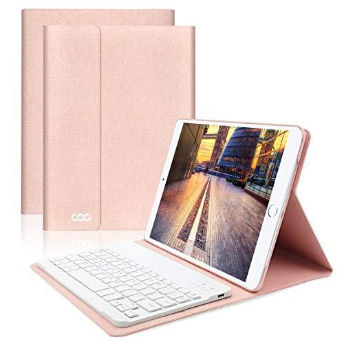 iPad Hülle Tastatur, 9,7 Zoll Neu iPad 2018/2017/Pro 9.7/Air 2/1 Keyboard Case mit Multi-Engel Stand und Deutsches QWERTZ Tastatur Layout - ipad Smart Case mit Auto Schlaf/Wachen (Champagner)