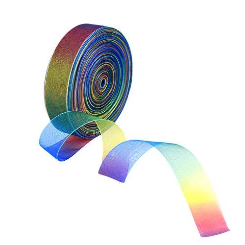 Shappy 50 Yard 1 Zoll Schimmer Sheer Organza Band, Regenbogen Farben