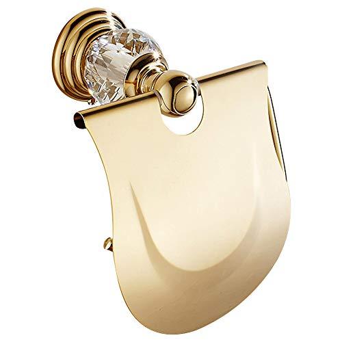 WOMAO Toilettenpapierhalter Gold Kristall Wandmontage Bohren Klopapierhalter mit Deckel Wasserdicht Unterputz Wandbefestigung WC Papierhalter