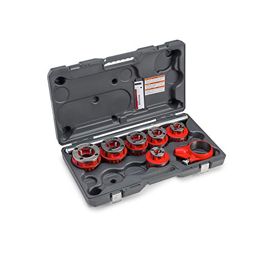 RIDGID 36475 Exposed 6 Ratchet Threader Set, Model 12-R Ratcheting Pipe Threading Set of 1/2-Inch to 2-Inch NPT Pipe Threading Dies and Manual Ratcheting Pipe Threader with Carrying Case,Red,Small