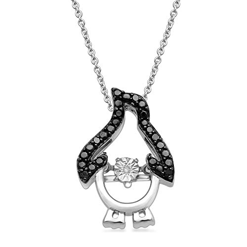 Jewelili Sterling Silver Black and White Diamond Accent Penguin Pendant Necklace, 18' Rolo Chain