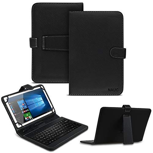 NAUC Tablet Tasche kompatibel für Vodafone Tab Prime 7/6 Keyboard USB Hülle Tastatur QWERTZ Schutzhülle Kunstleder Cover Universal 10.1 Zoll Case Schwarz