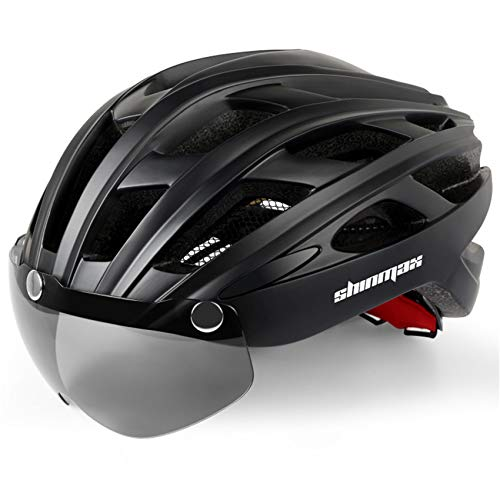 Shinmax Bike Helmet/Cycle helmet with Safety LED Light,CE Certified Bicycle Helmet with Detachable Magnetic Visor Bike Helmet Adult Bike Helmet with Detachable Visor and Liner Ski & Snowboard(NR-096)