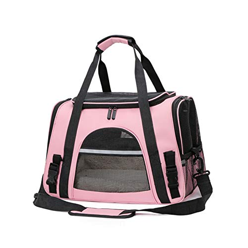 GQFGYYL Travel Backpack Pet Carrier, Portable Ventilated Carry Backpack Airline-Approved Bag for Cat Dog Traveling, Camping and Hiking,Pink