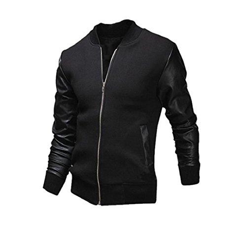 Männer Winter Mantel mit Kontrasten Slim Fit   ZEZKT-Herren Freizeit Open Jacke Weihnachten Lederjacke Cardigan (XL, Schwarz)