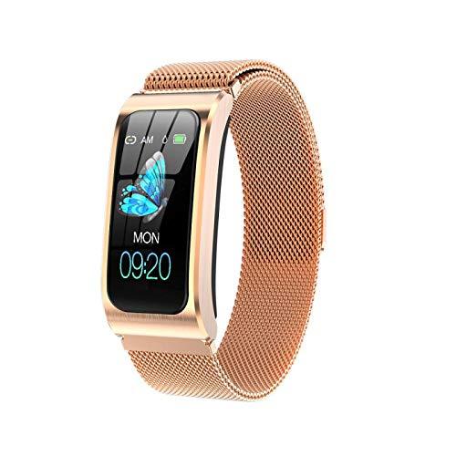 Smart Watch,GPS Waterproof Screen Fitness Watch,with Heart Rate Monitor,Pedometer,Sleep Monitor,Silent Alarm Clock,Super Battery Life,Slim Smart Bracelet(Golden)